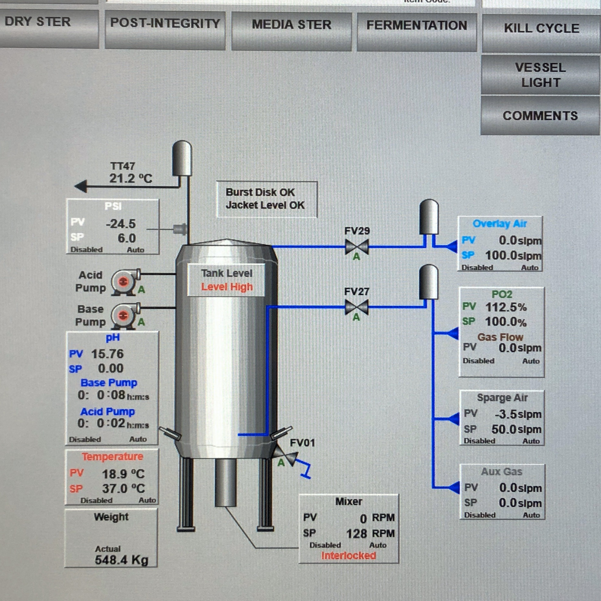 Fermenter HMI Screen